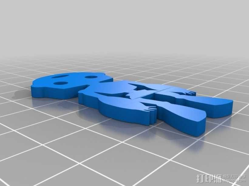 人形钥匙链 3D模型  图1