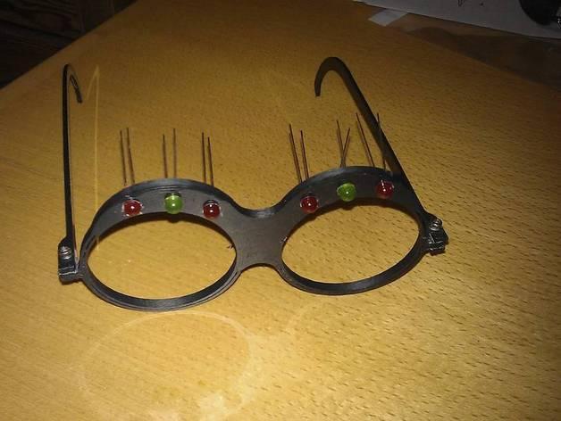 带LEDs 的书呆子眼镜 3D模型  图2