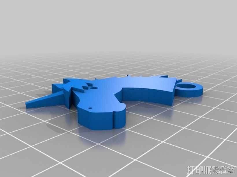独角兽钥匙链 3D模型  图1