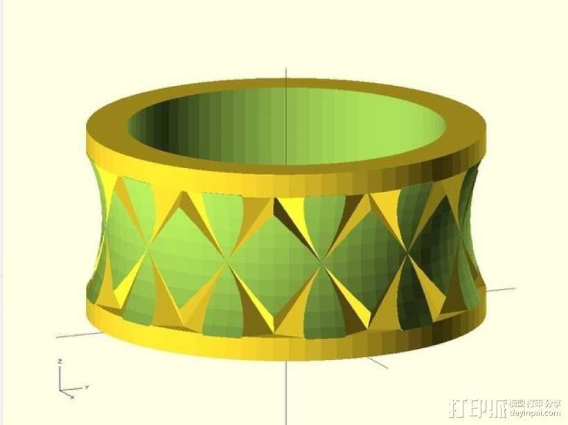 Quasi Knurled Ring戒指 3D模型  图1