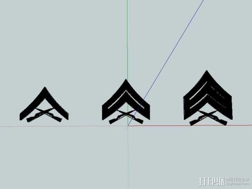 美国海军陆战队军衔徽章 3D模型  图2