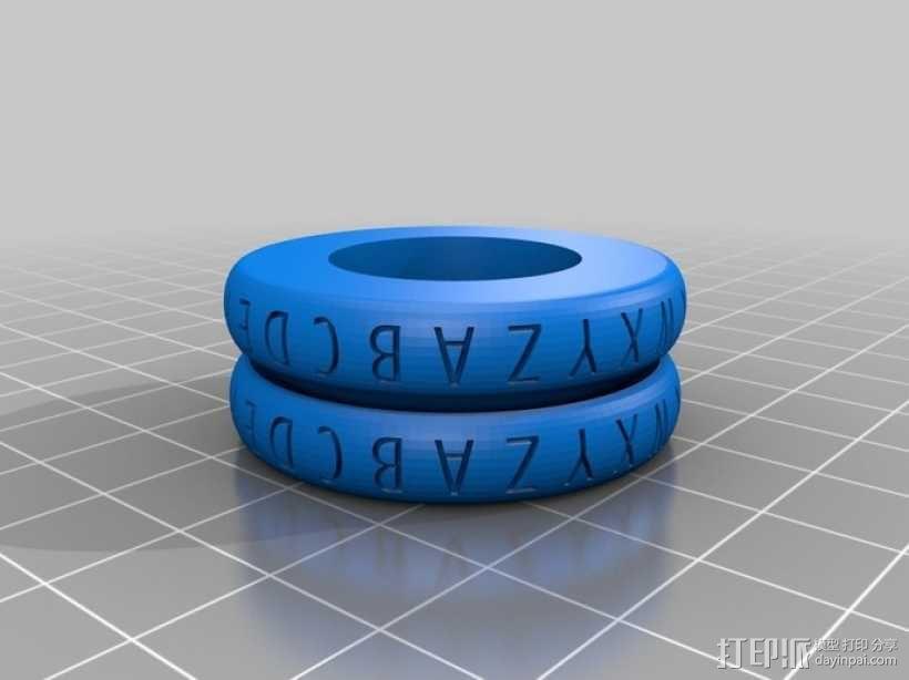 凯撒密码解码器戒指 3D模型  图1