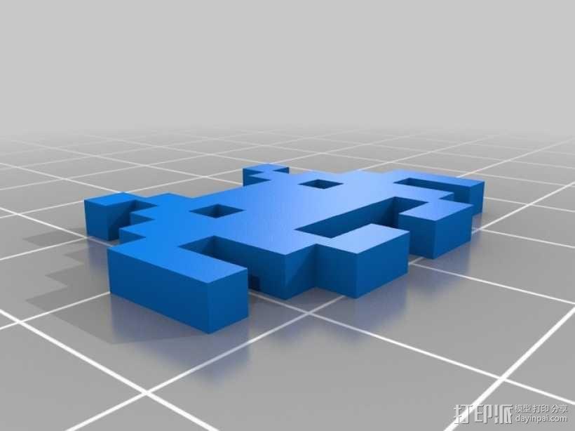 太空侵略者耳环 3D模型  图2