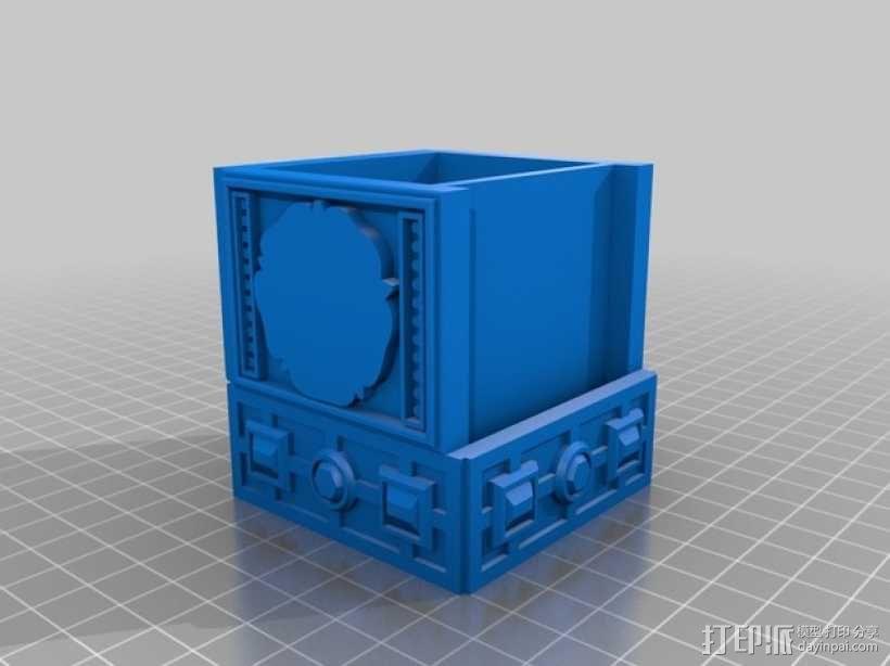 玫瑰花饰方盒  3D模型  图2