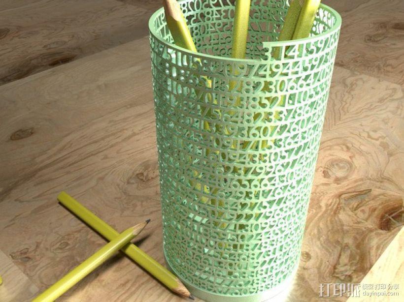 镂空数字笔筒 3D模型  图1