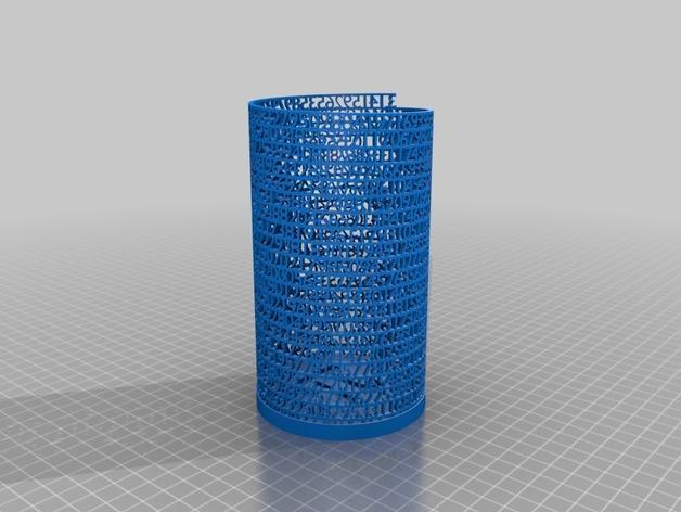 镂空数字笔筒 3D模型  图2