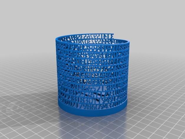 镂空数字笔筒 3D模型  图3