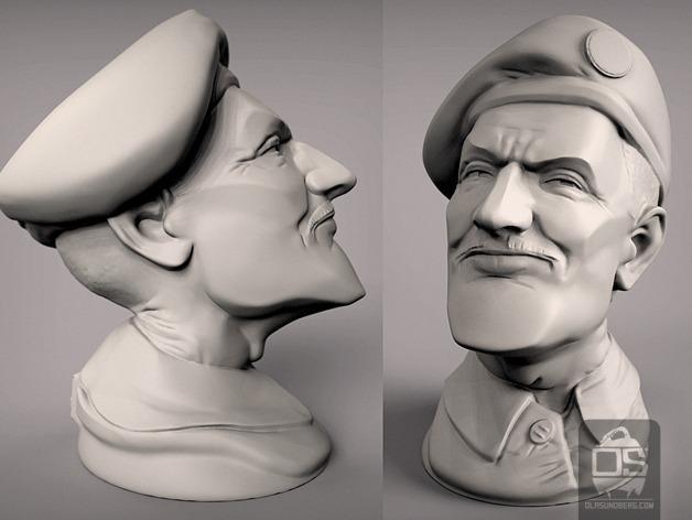 陆军上校雕塑 3D模型  图2