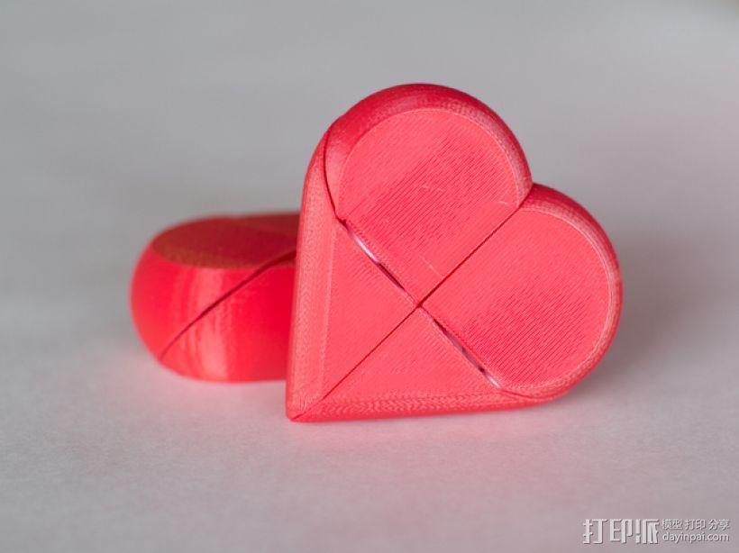 心形锁盒 3D模型  图1