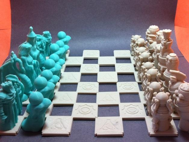 机器人与向导象棋组 3D模型  图1