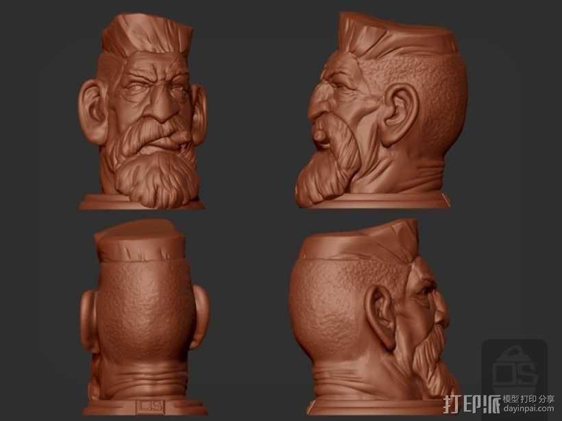 僵尸猎人头雕像 3D模型  图1