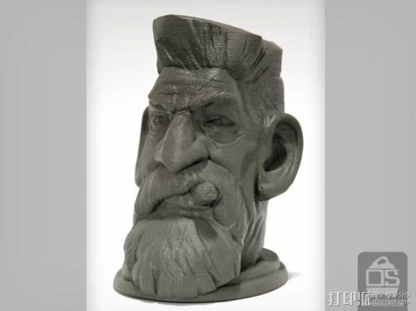 僵尸猎人头雕像 3D模型  图2