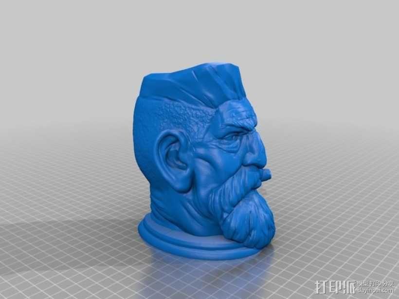 僵尸猎人头雕像 3D模型  图3