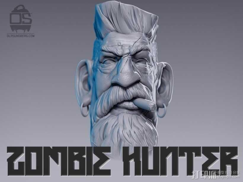 僵尸猎人头雕像 3D模型  图4