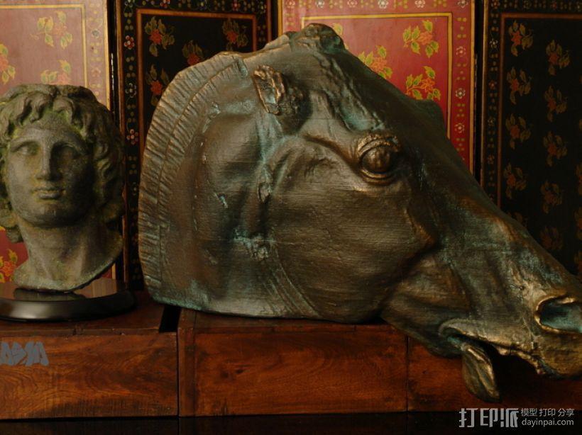 月亮女神的马 马头雕像模型 3D模型  图1