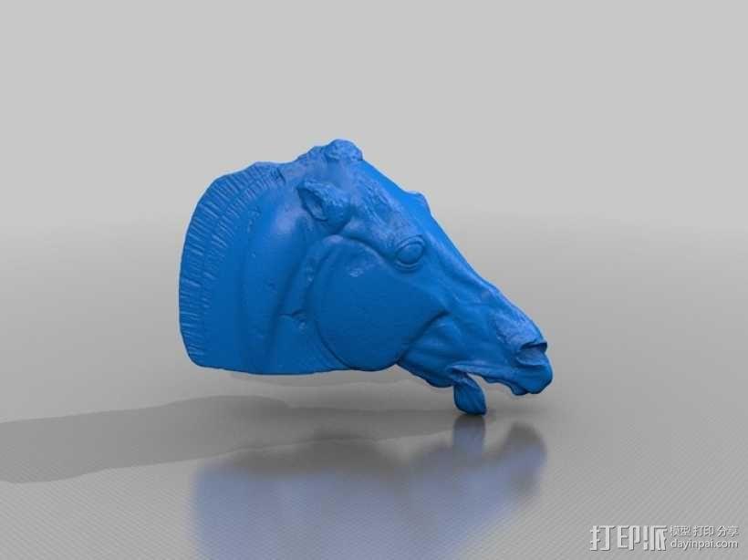 月亮女神的马 马头雕像模型 3D模型  图7