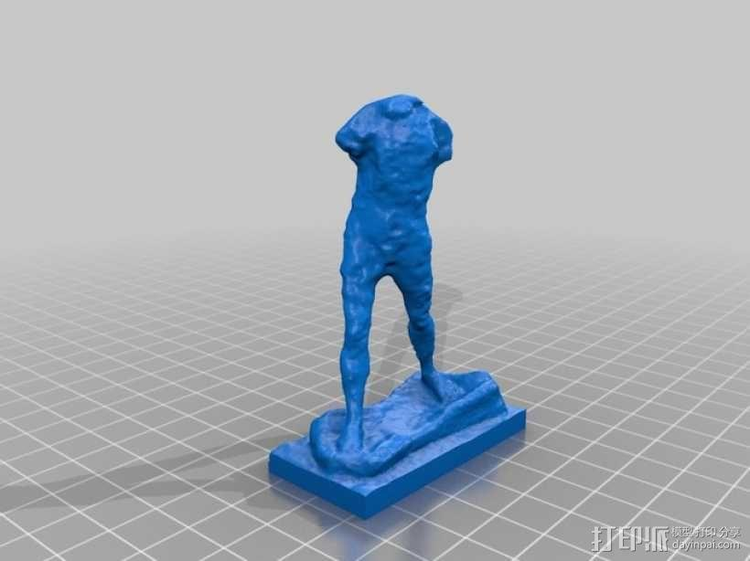 奥古斯特·罗丹雕塑:行走的人 3D模型  图1