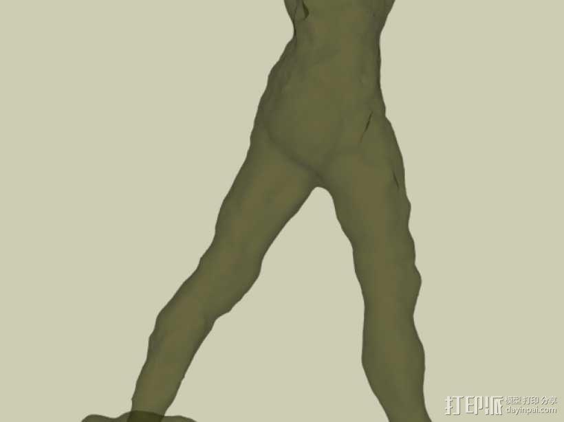 奥古斯特·罗丹雕塑:行走的人 3D模型  图3