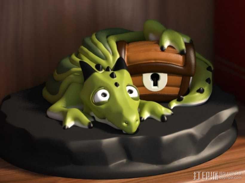 宠物藏宝箱雕塑 3D模型  图1