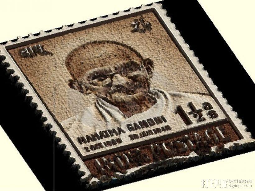 甘地邮票 3D模型  图1