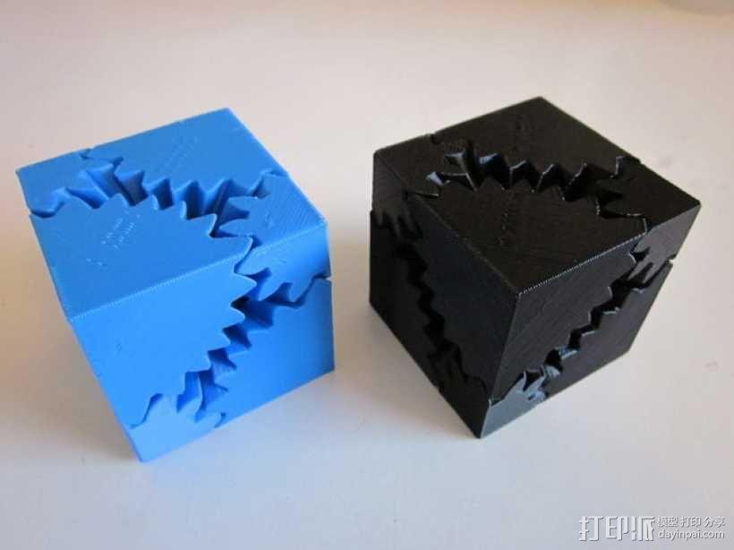 方形立方体齿轮 3D模型  图1