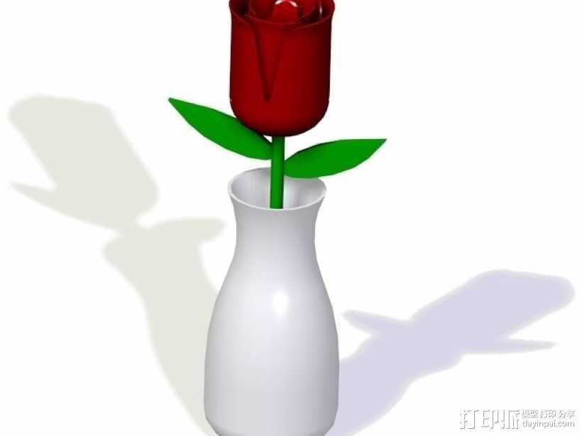 玫瑰 花瓶 3D模型  图1