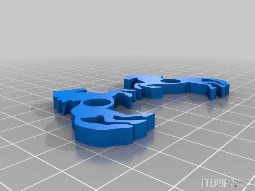 马形冰箱贴 3D模型  图3
