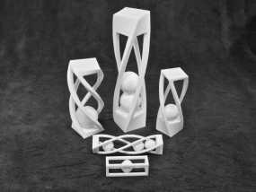 螺旋形状 笼中球  3D模型