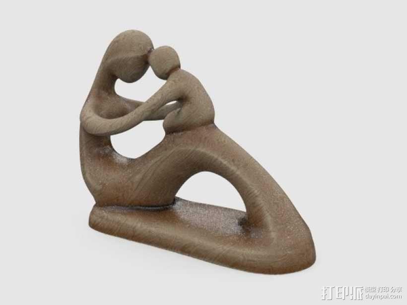 母亲和孩子 雕塑 3D模型  图1
