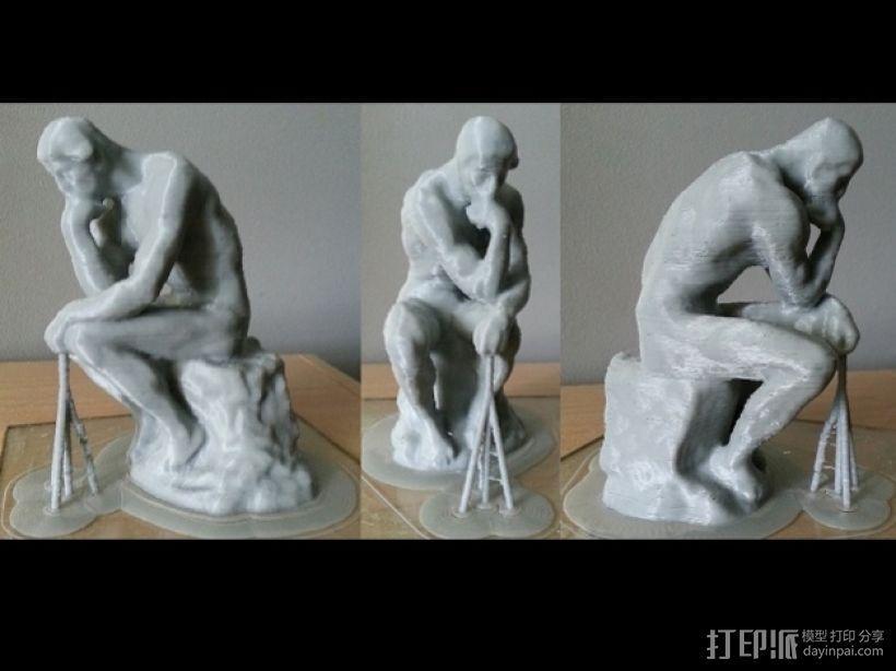 思考者 雕塑 3D模型  图1