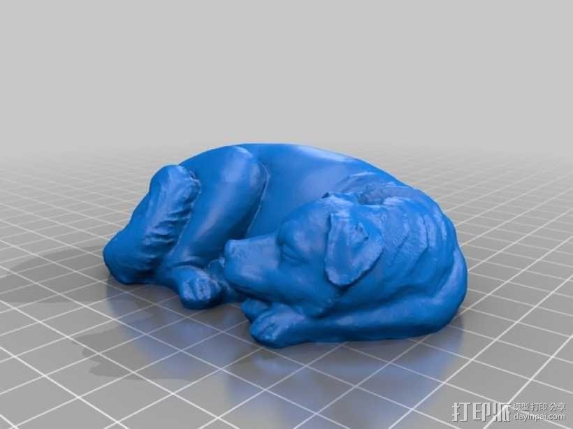 熟睡的狗 3D模型  图1