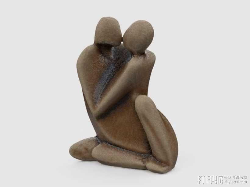 情侣 雕塑 3D模型  图1