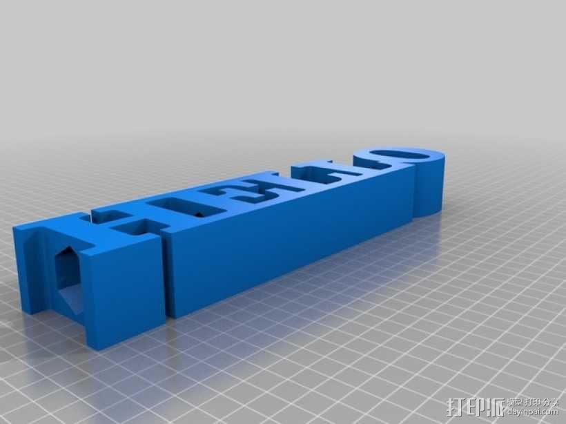 字母文本 铅笔套 3D模型  图2