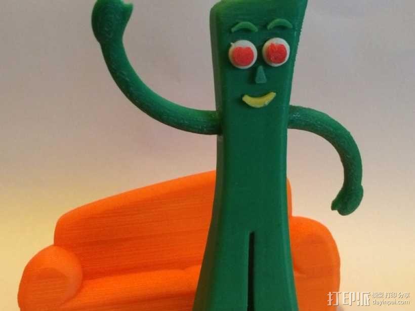 小绿人Gumby 3D模型  图1