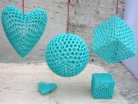 泰森多边形球体 心形体  立方体 3D模型