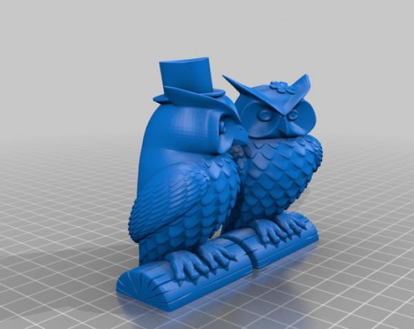 猫头鹰情侣 模型 3D模型  图2