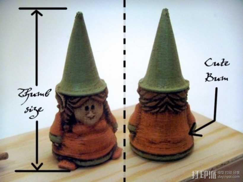 小矮人小姐 雕塑 3D模型  图1