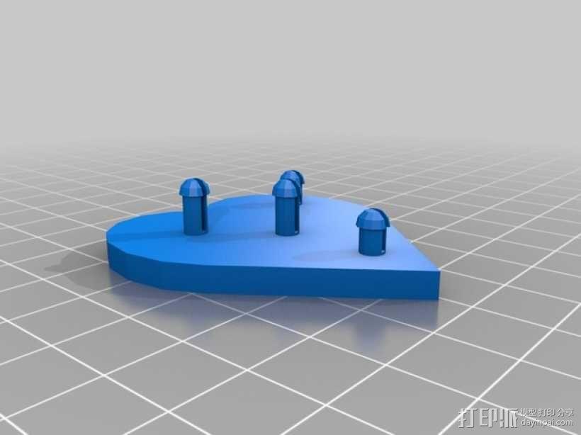 齿轮心形胸针 3D模型  图5