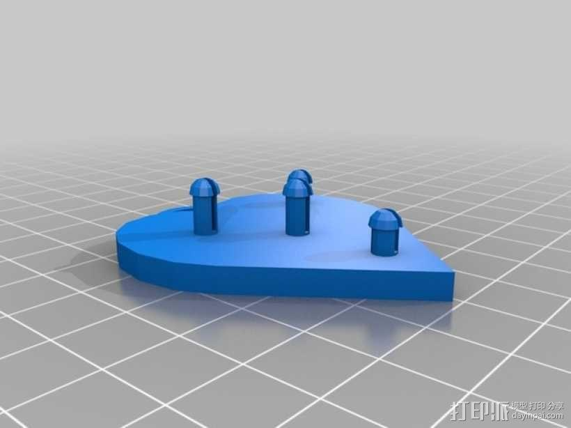 齿轮心形胸针 3D模型  图4