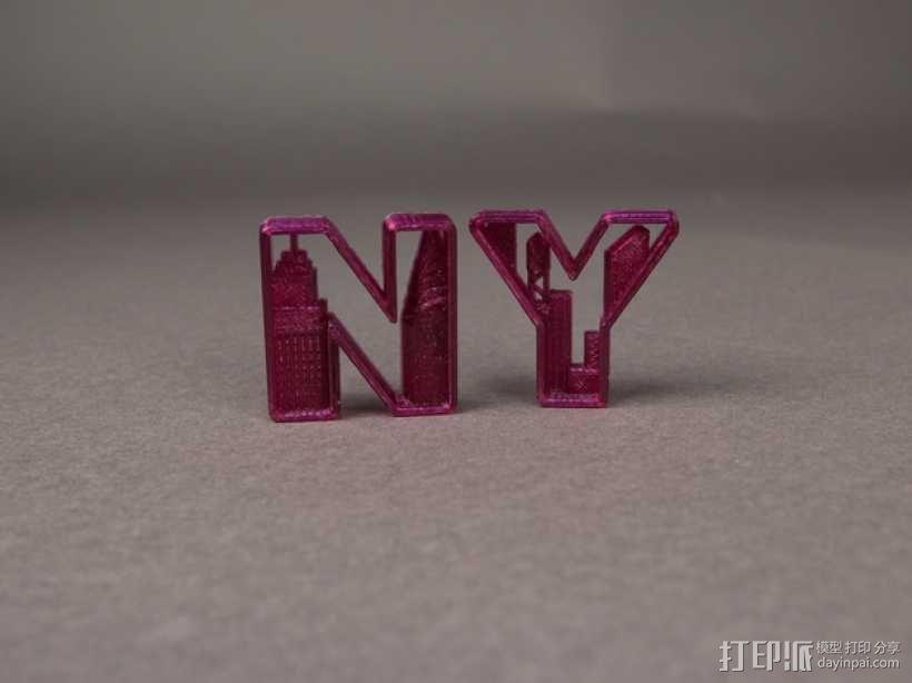 NY 花式字母 3D模型  图1