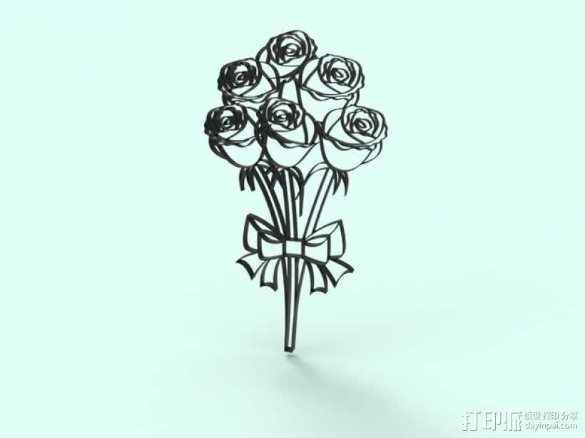 一束玫瑰 模型 3D模型  图1