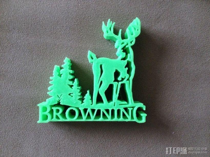 Browning  Logo V2版 3D模型  图1