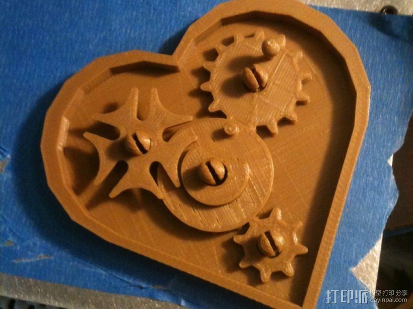 桌面爱心齿轮 3D模型  图1