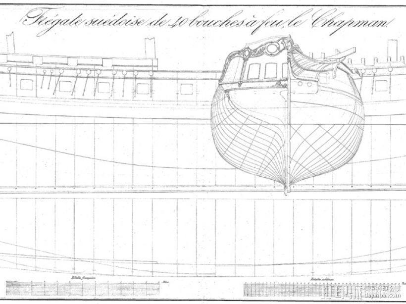 Chapman 40护卫舰 3D模型  图2