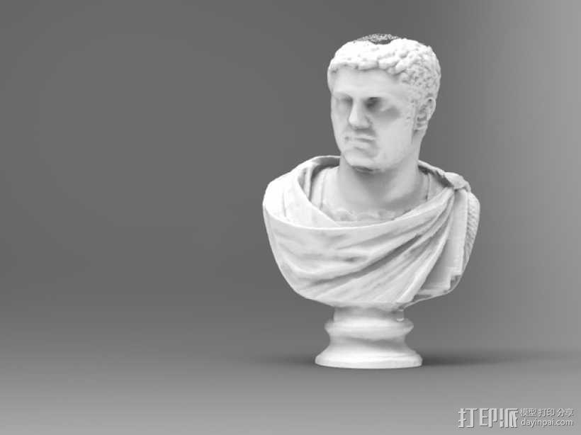 卡拉卡拉皇帝大理石头像 3D模型  图1