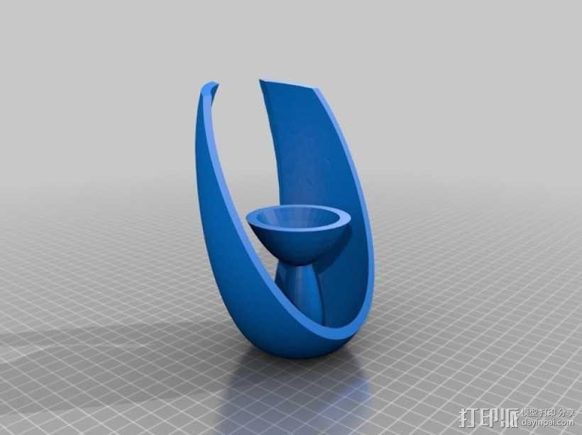 椭圆形茶蜡托 3D模型  图1