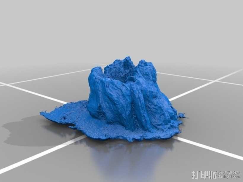 岩石化的树桩雕塑  3D模型  图2