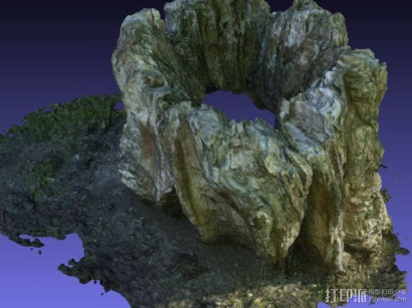 岩石化的树桩雕塑  3D模型  图5