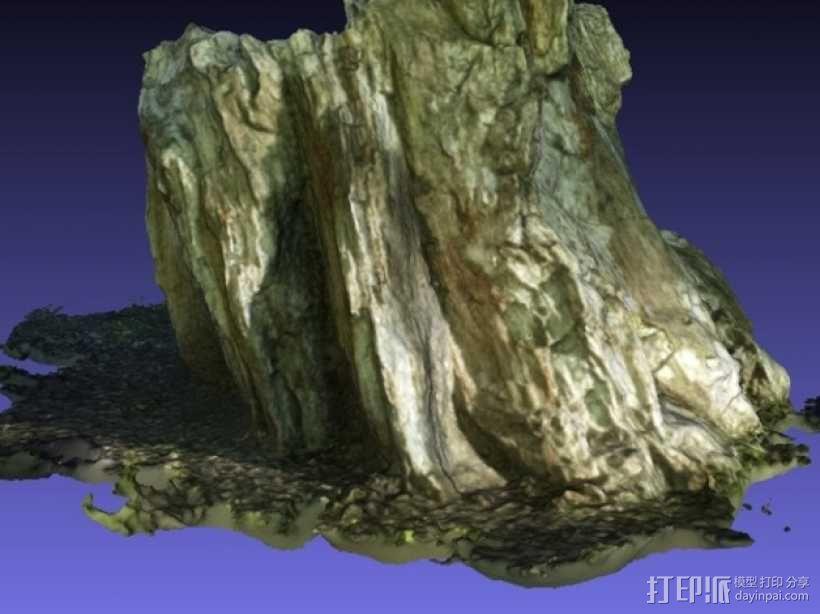 岩石化的树桩雕塑  3D模型  图7