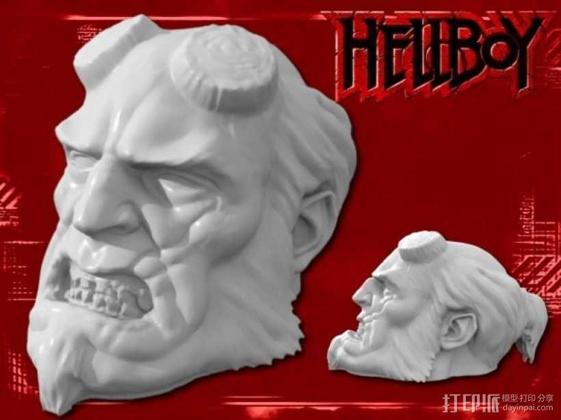地狱男爵 头像雕塑 3D模型  图1